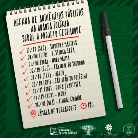 Audiência Pública sobre o Projeto Geoparque Quarta Colônia acontece na próxima quarta-feira