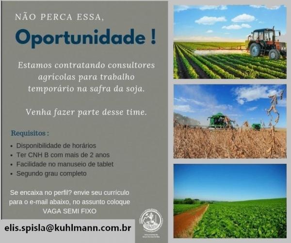 Oportunidade de emprego para Nova Palma e região