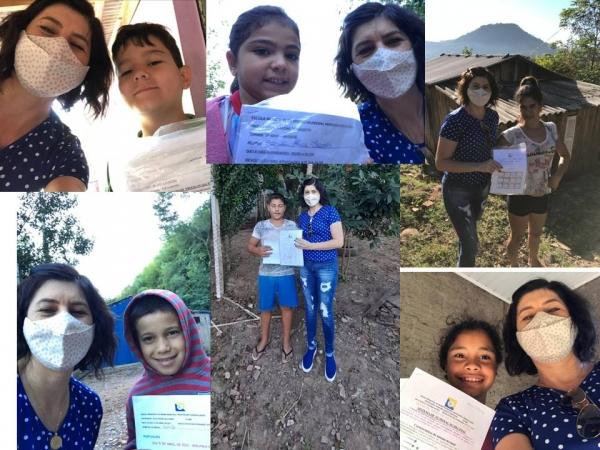 Entrega de atividades aos alunos da Escola Cândida Zasso
