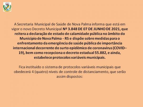 Informativo Covid-19 - alguns pontos em destaque de novo Decreto Municipal
