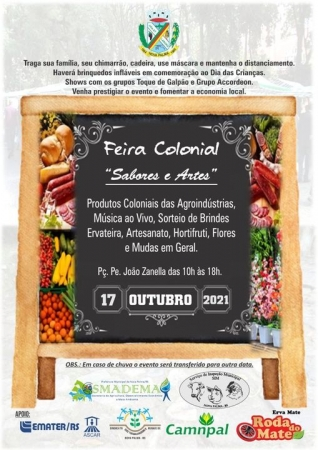 Feira Colonial Sabores e Artes de Nova Palma acontece neste domingo